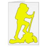 Hiker Silhouette Emblem Graphic Design Backpacker Greeting Card