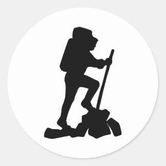 Hiker Silhouette Emblem Graphic Design Backpacker Classic Round Sticker