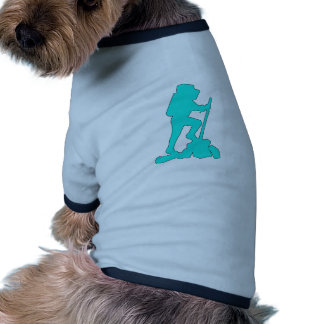 Hiker Silhouette Emblem Graphic Design Backpacker Pet Shirt