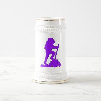 Hiker Silhouette Emblem Graphic Design Backpacker 18 Oz Beer Stein