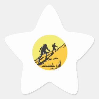 Hikers Hiking Up Steep Trail Circle Woodcut Star Sticker
