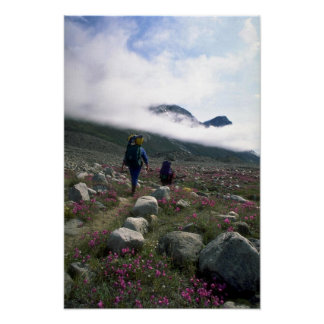 Hikers in Auyuittuq National Park, NWT, Canada Poster