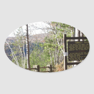 Hikers Turkey Path with sign.at Pa Grand Canyon Oval Sticker