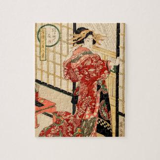 Hikeyotsu no yoru no ame (Vintage Japanese print) Jigsaw Puzzle