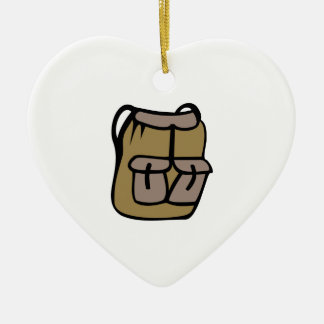 Hiking Backpack Double-Sided Heart Ceramic Christmas Ornament