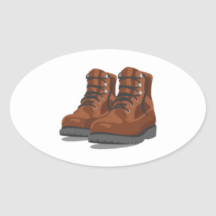 Hiking Boots Oval Sticker