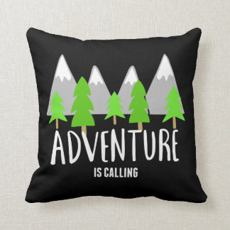 Hiking Camping Adventure is Calling Quote Throw Pillow