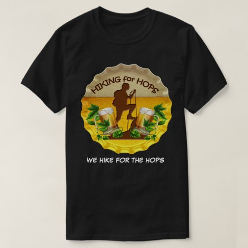 Hiking for Hops Dark Tee Shirt  Bottle Cap Logo