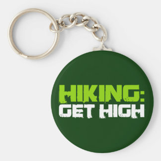 Hiking: Get High (green) Keychains