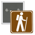 Hiking Highway Sign 2 Inch Square Button