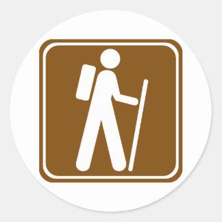 Hiking Highway Sign Classic Round Sticker