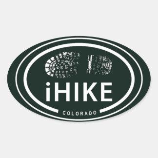 "Hiking ""iHIKE"" Colorado Rocky Mountain Boot Print Oval Sticker"