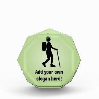Hiking Man Silhouette with Customizable Text Award