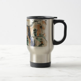 Hiking Mountain Trail, Sumi-e Landscape Travel Mug