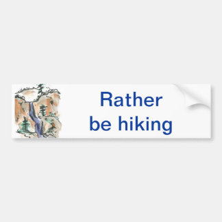 Hiking Mountain Trails, Sumi-e Landscape Bumper Sticker