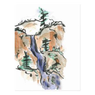 Hiking Mountain Trails, Sumi-e Landscape Postcard