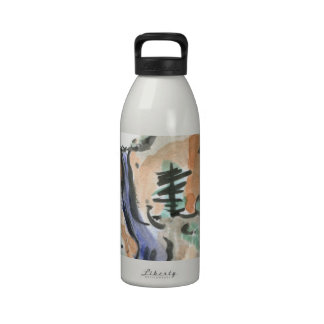 Hiking Mountain Trails, Sumi-e Landscape Drinking Bottles