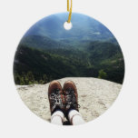 Hiking On Top of the World Double-Sided Ceramic Round Christmas Ornament