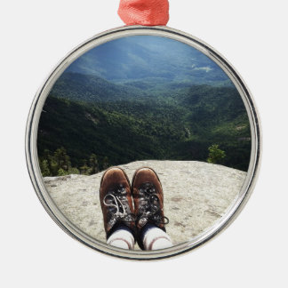 Hiking On Top of the World Round Metal Christmas Ornament