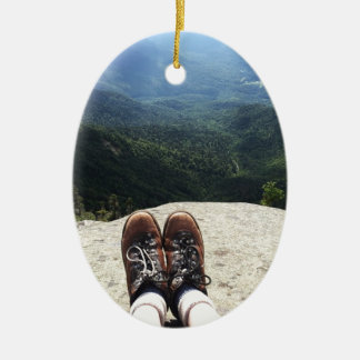 Hiking On Top of the World Double-Sided Oval Ceramic Christmas Ornament
