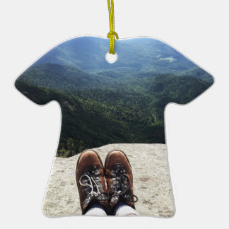 Hiking On Top of the World Double-Sided T-Shirt Ceramic Christmas Ornament