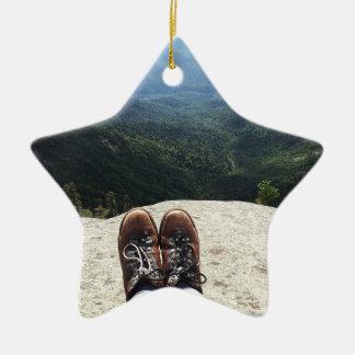 Hiking On Top of the World Double-Sided Star Ceramic Christmas Ornament