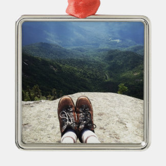 Hiking On Top of the World Square Metal Christmas Ornament