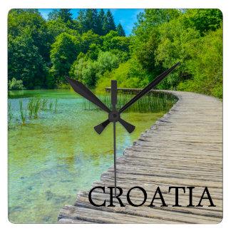 Croatia wall clocks zazzle hiking path in plitvice national park in croatia square wall clock sciox Image collections