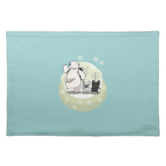 Hiking,polar bear and french bull dogs placemat