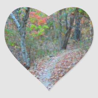 Hiking Right Up The Hill Heart Sticker