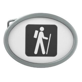 Hiking Sign Oval Belt Buckle