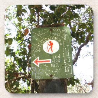Hiking Sign Beverage Coasters