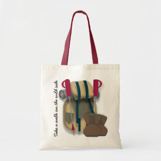 Hiking themed tote bag