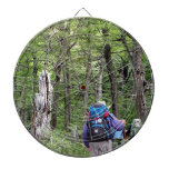Hiking through trees, Torres del Paine Park, Chile Dartboard