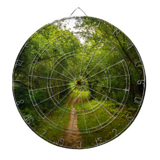 Hiking trail through the woods dartboards