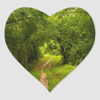 Hiking trail through the woods heart sticker