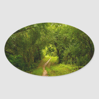 Hiking trail through the woods oval sticker