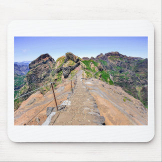 Hiking trail up in mountains on Madeira Portugal. Mouse Pad