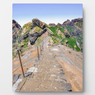 Hiking trail up in mountains on Madeira Portugal. Plaque