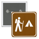 Hiking Trail with Camping Highway Sign Pinback Button