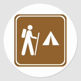 Hiking Trail with Camping Highway Sign Classic Round Sticker