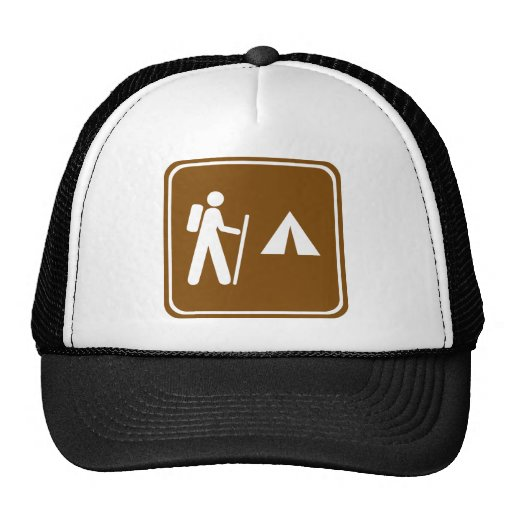 Hiking Trail with Camping Highway Sign Hats