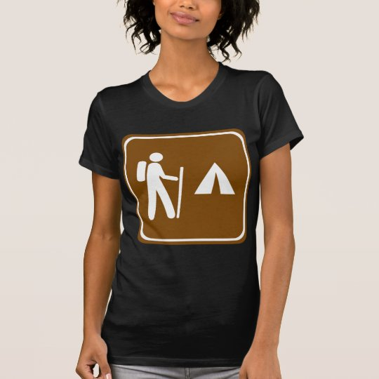 Hiking Trail with Camping Highway Sign T-Shirt