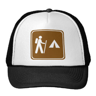 Hiking Trail with Camping Highway Sign Trucker Hat