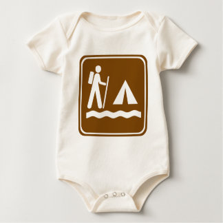 Hiking Trail with Lakeside Camping Highway Sign Baby Bodysuit