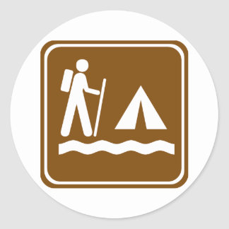 Hiking Trail with Lakeside Camping Highway Sign Classic Round Sticker