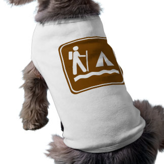 Hiking Trail with Lakeside Camping Highway Sign Dog Tee Shirt