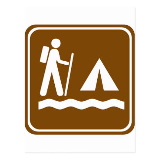 Hiking Trail with Lakeside Camping Highway Sign Postcard