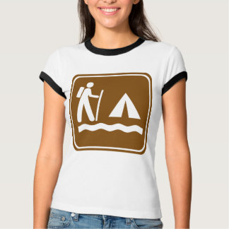 Hiking Trail with Lakeside Camping Highway Sign T-Shirt
