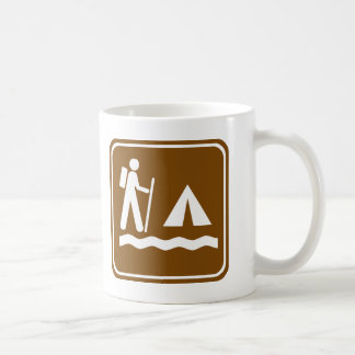 Hiking Trail with Lakeside Camping Highway Sign Mugs